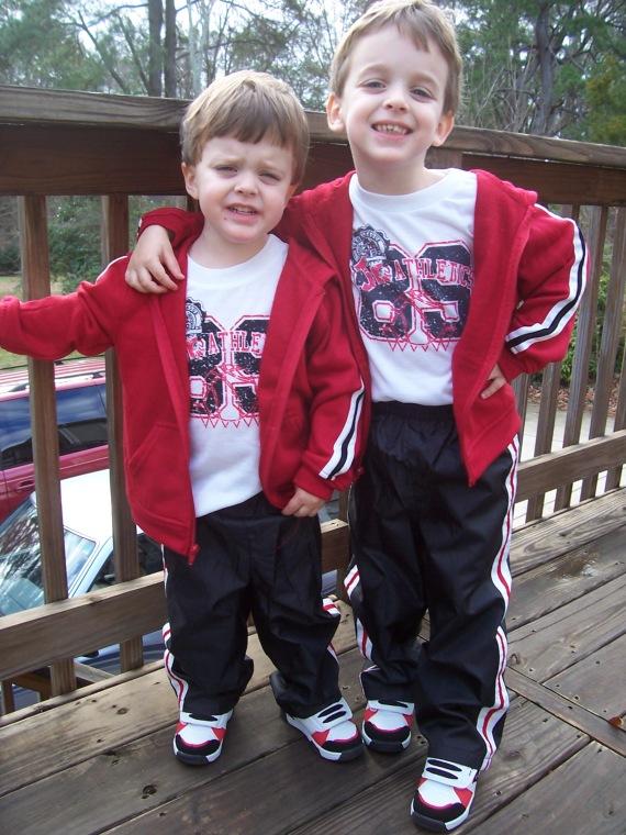 "Jon Jon & A.J. showing off their new ""Red Team"" gear"